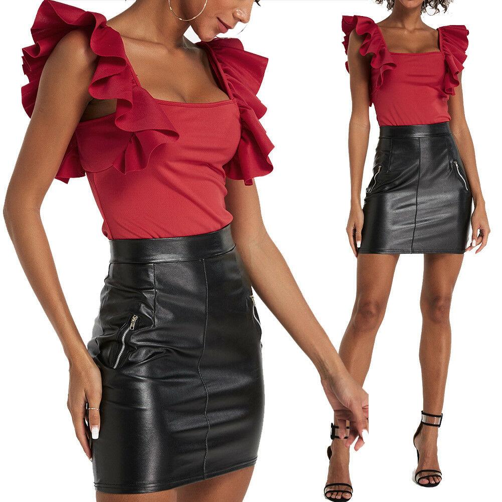 New Women Ladies Fashion Casual Comfy Solid Ruffle Sleeve Bodysuit Leotard Tops Bodysuit