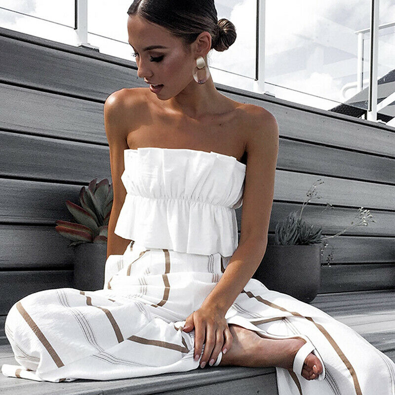 Bandeau Casual Tube Crop Top Off Shoulder Vest Women Strapless Tees Girl Ruffles Camis