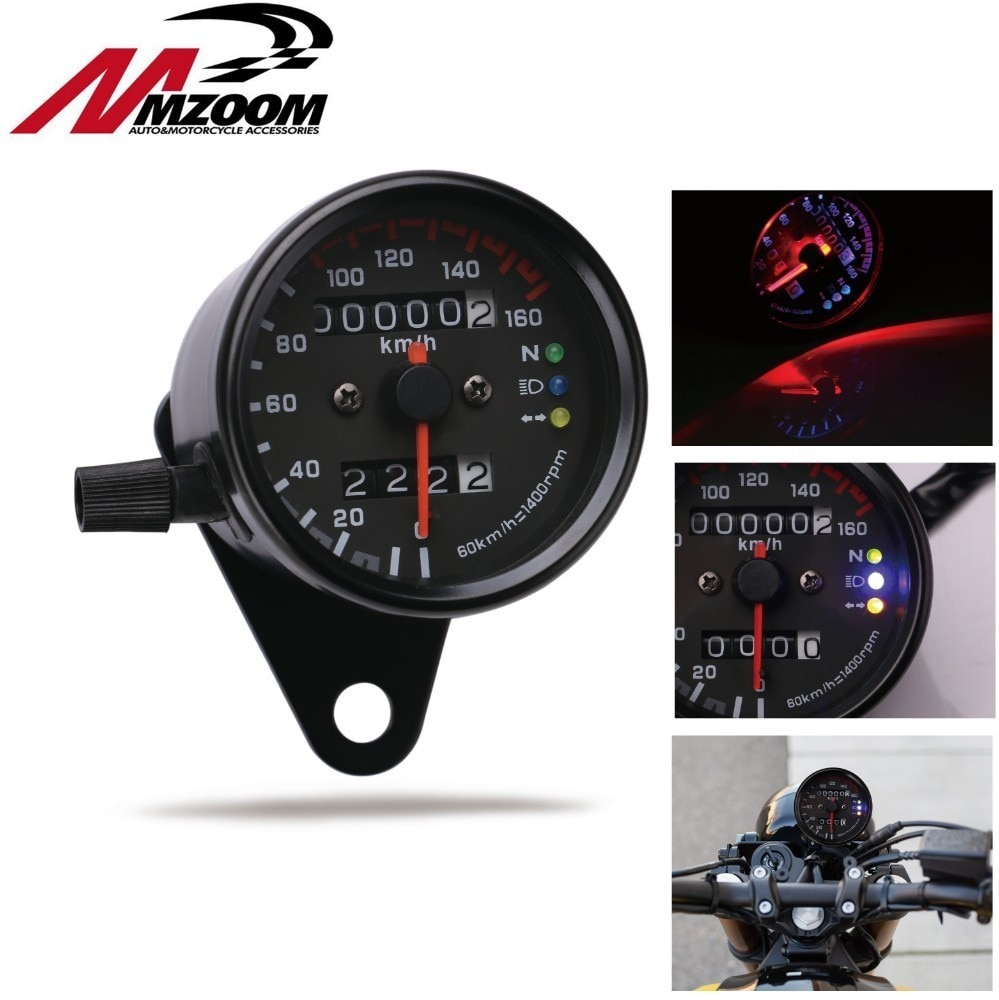 Velocímetro Universal para motocicleta 12v partes para motocicleta odómetro velocímetro doble indicador LED tablero adecuado