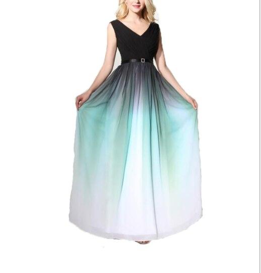 Женское вечернее платье Lanxirui, Элегантное длинное шифоновое платье с v-образным вырезом, градиентными оборками и складками, торжественное пл...