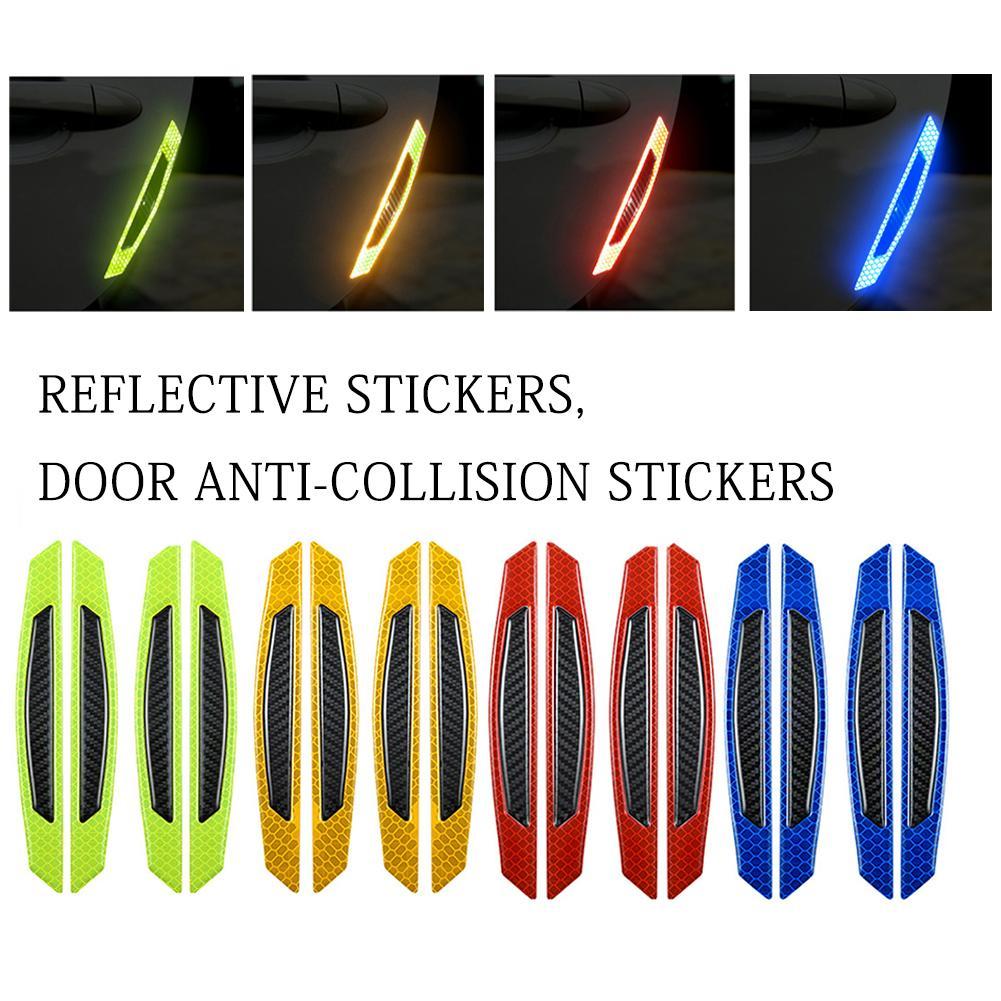 4 шт. двери автомобиля 3D Стикеры наклейка Предупреждение лента автомобильные отражающие наклейки Стикеры s со светоотражающими элементами ...