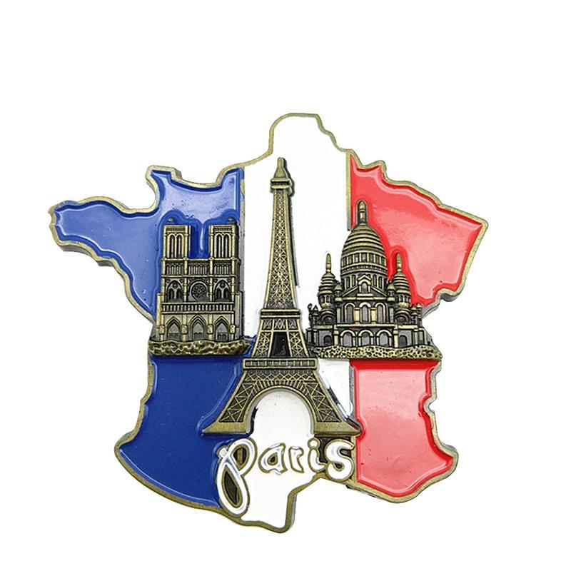 1 Pc Neue Kreative 3D Metall Magnet Frankreich Karte Kühlschrank Aufkleber Harz Aufkleber Paris Tourist Souvenir Wohnkultur