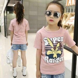 Детская одежда; хлопковая Футболка с рисунком для девочек; Новая модная летняя одежда с короткими рукавами и круглым вырезом для малышей