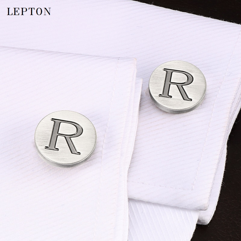 Запонки Lepton мужские с буквами алфавита, классические антикварные посеребренные, R, запонки, рубашка, манжеты
