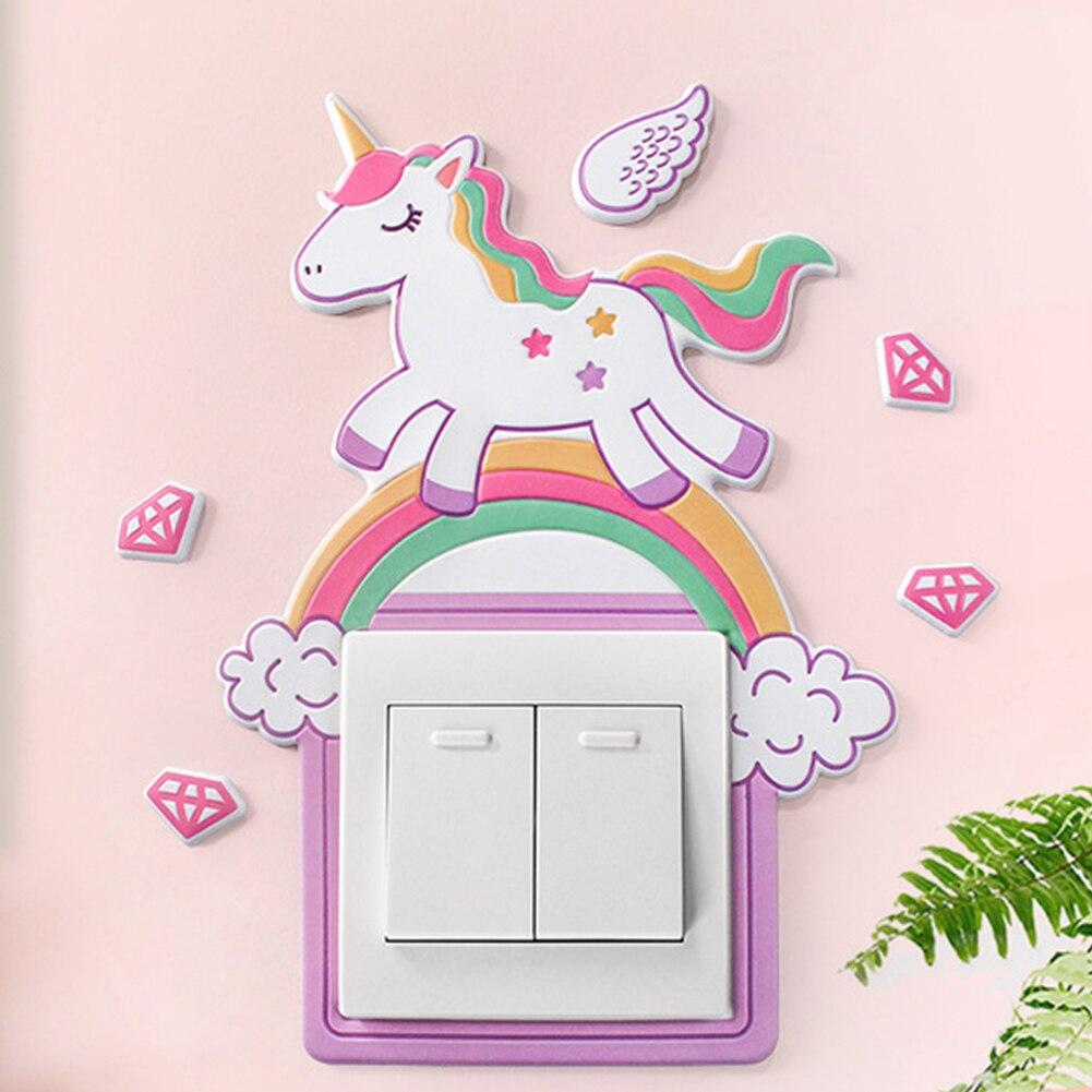 Pegatina 3D con interruptor de unicornio, rosa de dibujos animados de calcomanía de interruptor de luz 2 uds, decoración de pared para el hogar, adhesivo para interruptor de pared extraíble