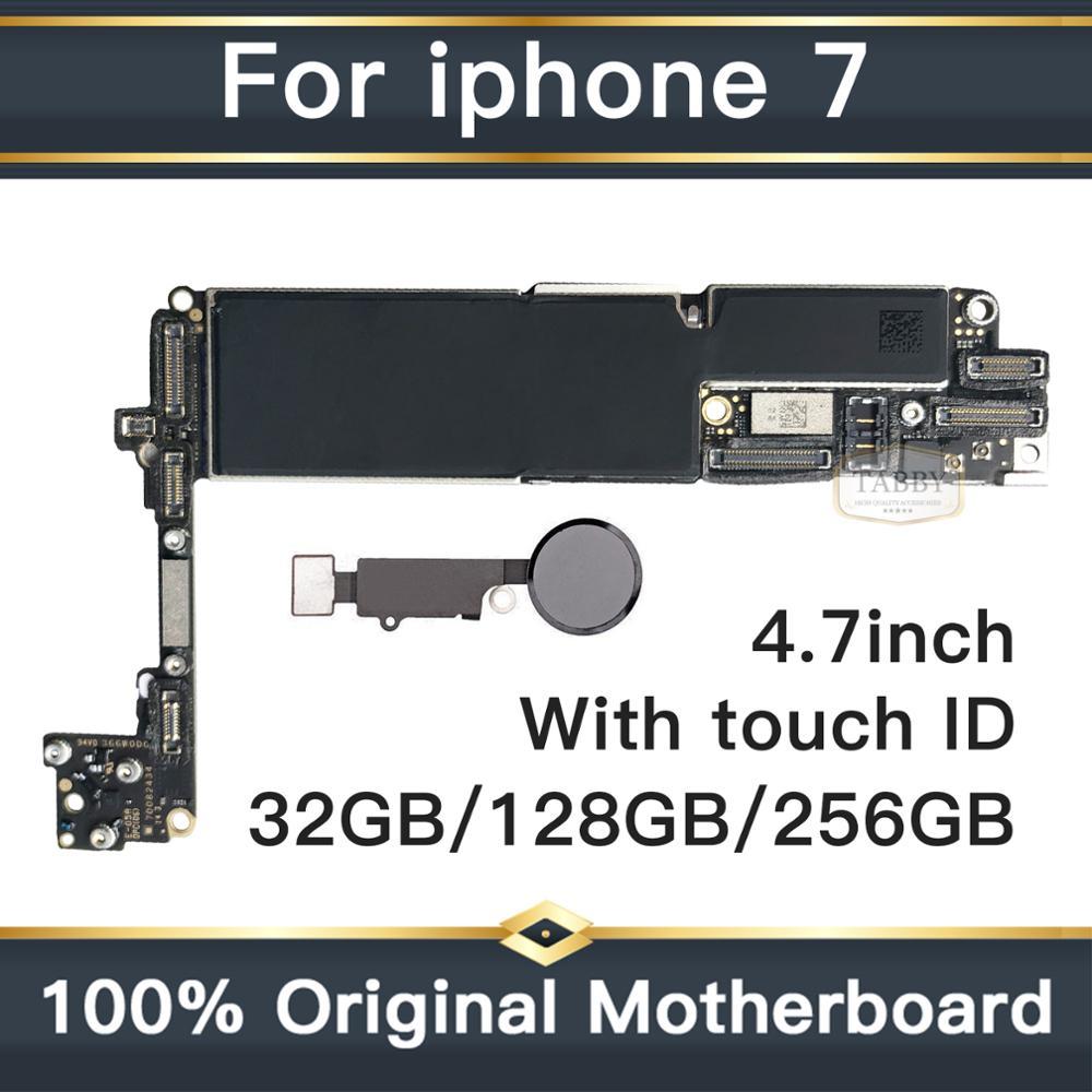 Placa base Original desbloqueada para iphone 7 con ID táctil placa base para teléfono móvil con Chips placas lógicas 32 GB/128 GB/256GB