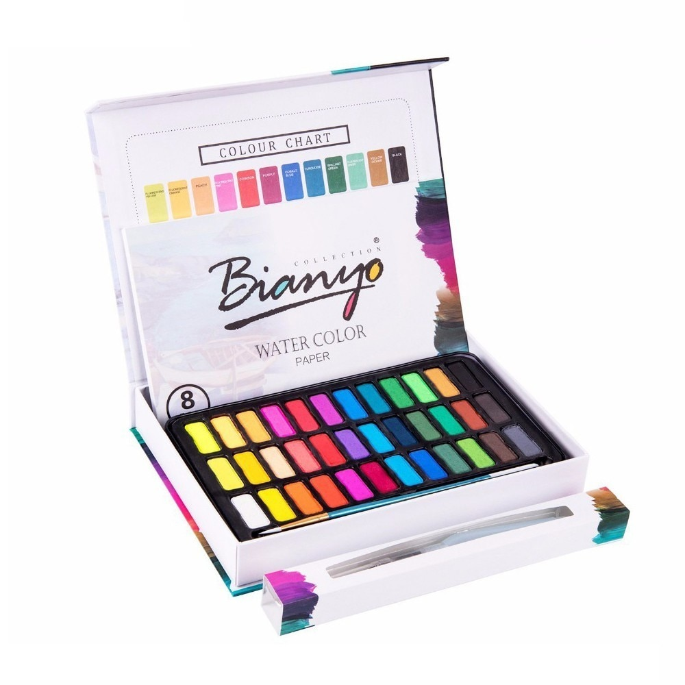 Juego de pinturas de 36 colores de Color sólido con pincel de acuarela pincel profesional pintura dibujo acuarela arte del pigmento suministros