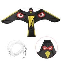 Mayitr Emulation Flying Black Bird Repeller Flying Hawk Kite Scarecrow Decoration Garden Yard Pest Control