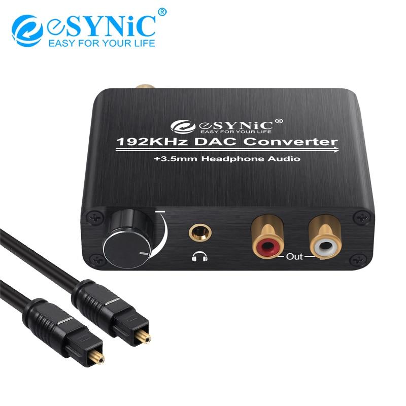 ESYNiC-محول رقمي بصري محوري 192 كيلو هرتز إلى RCA 3.5 مللي متر جاك ، محول DAC مع التحكم في مستوى الصوت لـ PS3 PS4 XBox HD DVD
