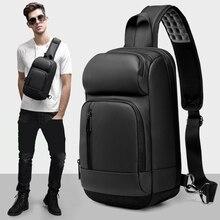 Black Chest Packs Men USB Charging Casual Shoulder Crossbody Bags Water Repellent Travel Male Messenger Bag Accessories Supplies