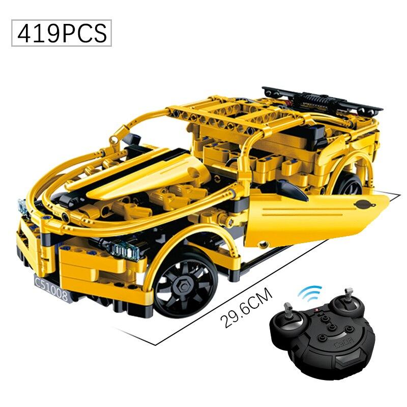 419 + Uds revuelta serie RC bumblebee coche deportivo bloques de construcción en miniatura juguetes técnica de carreras de ladrillo juguetes para los niños