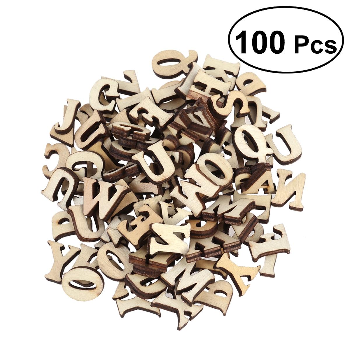 50/100 Uds. Discos de corte de madera mayúsculas letras mayúsculas de madera sin terminar para Patchwork artes de colección de recortes artesanías