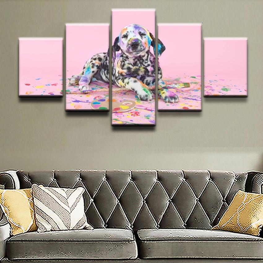 5 piezas de impresión de póster pintura dálmata mascota cachorro decoración pintura pared cuadros de Arte Moderno decoración del hogar para el dormitorio lienzo obra de arte