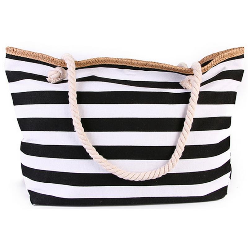 2019 New Beach Tote Bag Fashion Women Canvas Summer Large Capacity Striped Shoulder Bag Tote Handbag Shopping Shoulder Bags