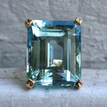 Zee Blauwe Topaas Steen Prinses Diamanten Ring Engagement Sapphire Ring 14K Goud Anillos Voor Vrouwen Bizuteria Jade Diamant Sieraden