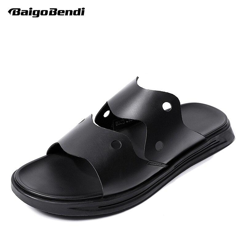 Новые модные мужские кожаные сандалии с вырезами повседневные шлепанцы Мужская