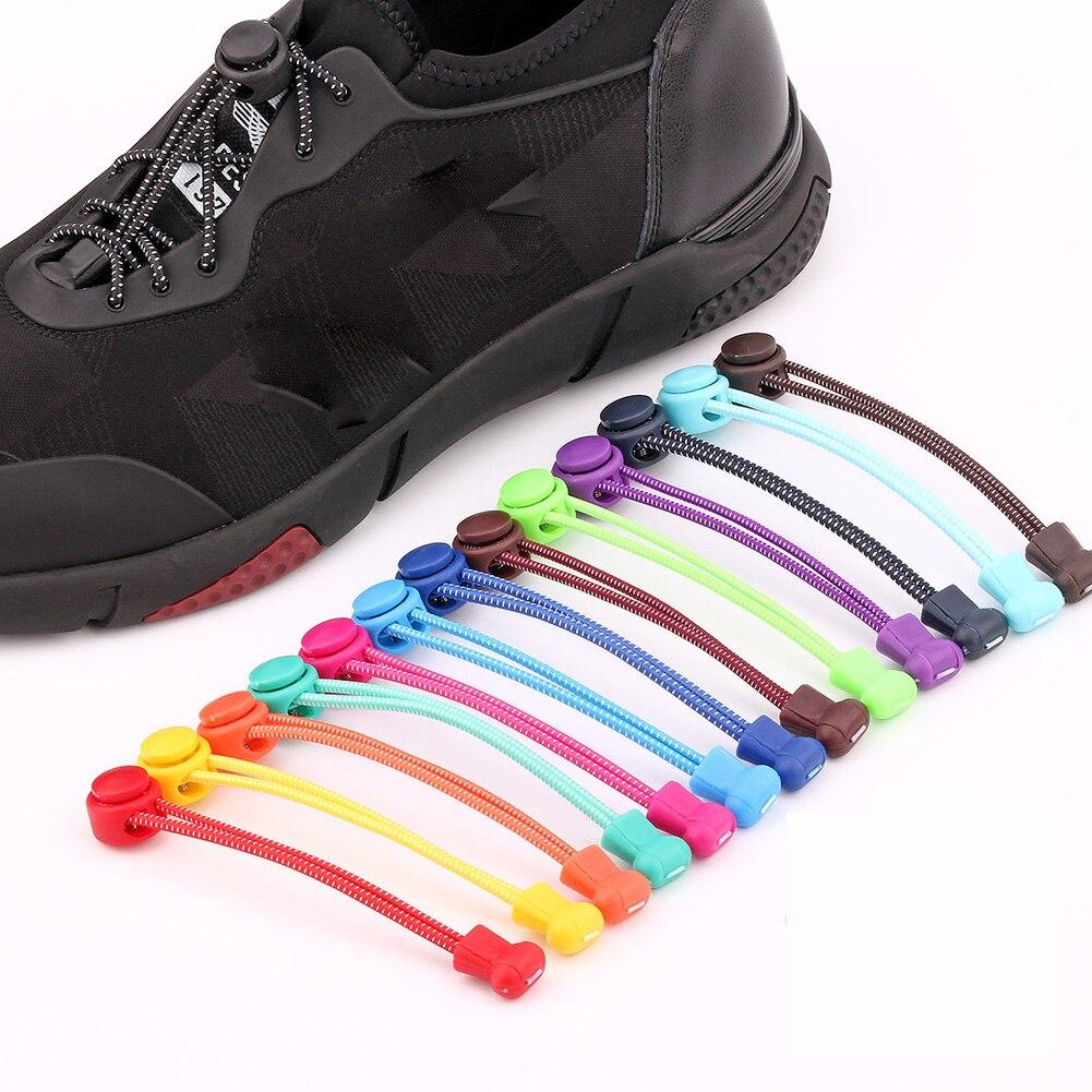 1 Uds cordones de zapatillas unisex sin cordones Cordones redondos elásticos cordones de zapatos cordones 2019 cordones de zapatos de moda gran oferta para mujeres y hombres
