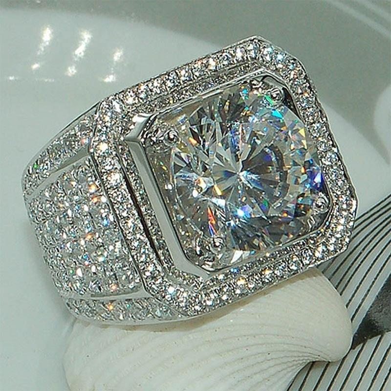 Venta 5-12 anillos de compromiso HipHop blancos y dorados CZ anillo de cristal completo para hombre y mujer