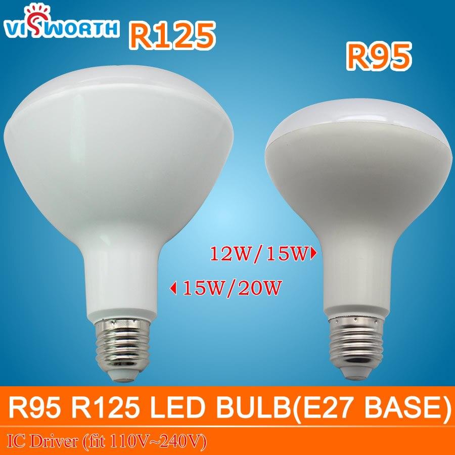 Новая Светодиодная лампа E27 r95 r125, Светодиодная лампа 12 Вт 15 Вт 20 Вт, светодиодная лампа ac 110 В 220 в 240 в, ic драйвер, светодиодный теплый белый све...