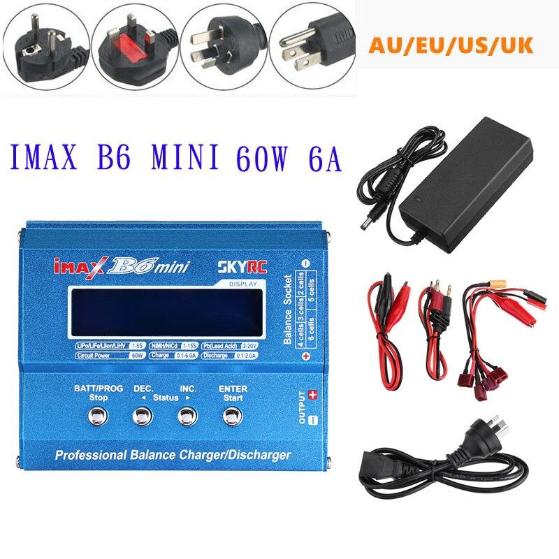 Original SKYRC IMAX B6 Mini 60W 6A Balance cargador descargador con fuente de alimentación para LiPo Li-ion vida Nimh Nicd batería