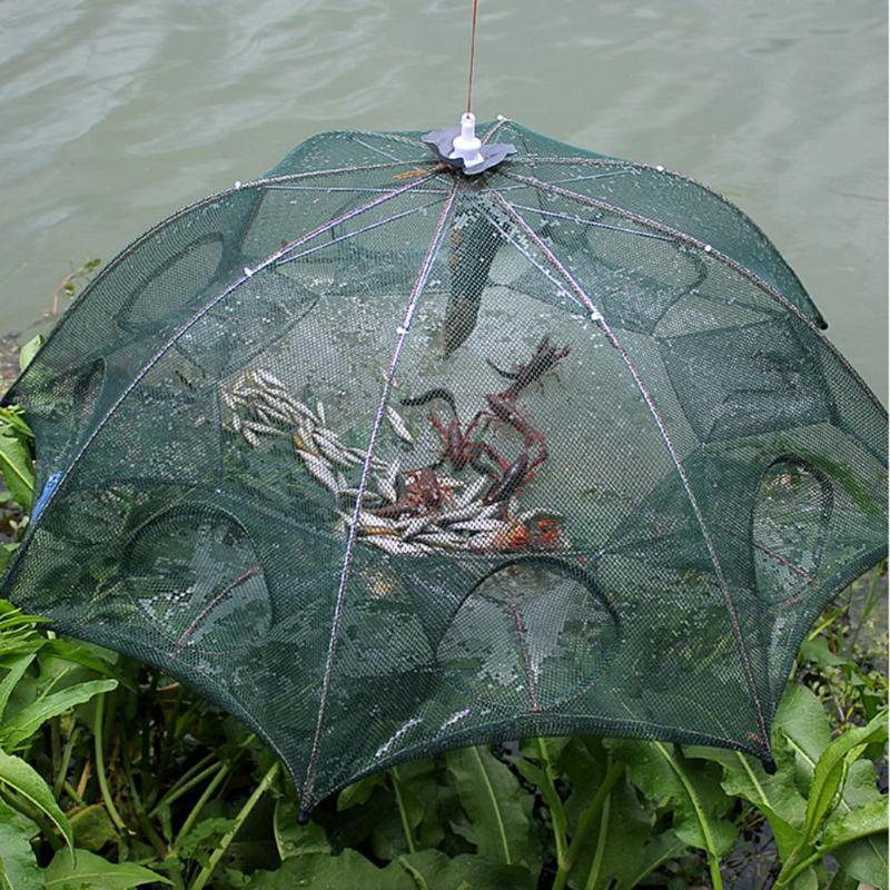 4-16 отверстий, автоматическая Рыболовная Ловушка, усиленная клетка для креветок, нейлоновая Складная рыболовная сеть для крабов, складная рыболовная сеть