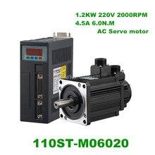Générateur moteur de Servo   Haute qualité, 220V 6N.M 1.2KW, moteur de Servo AC avec câble de 3M