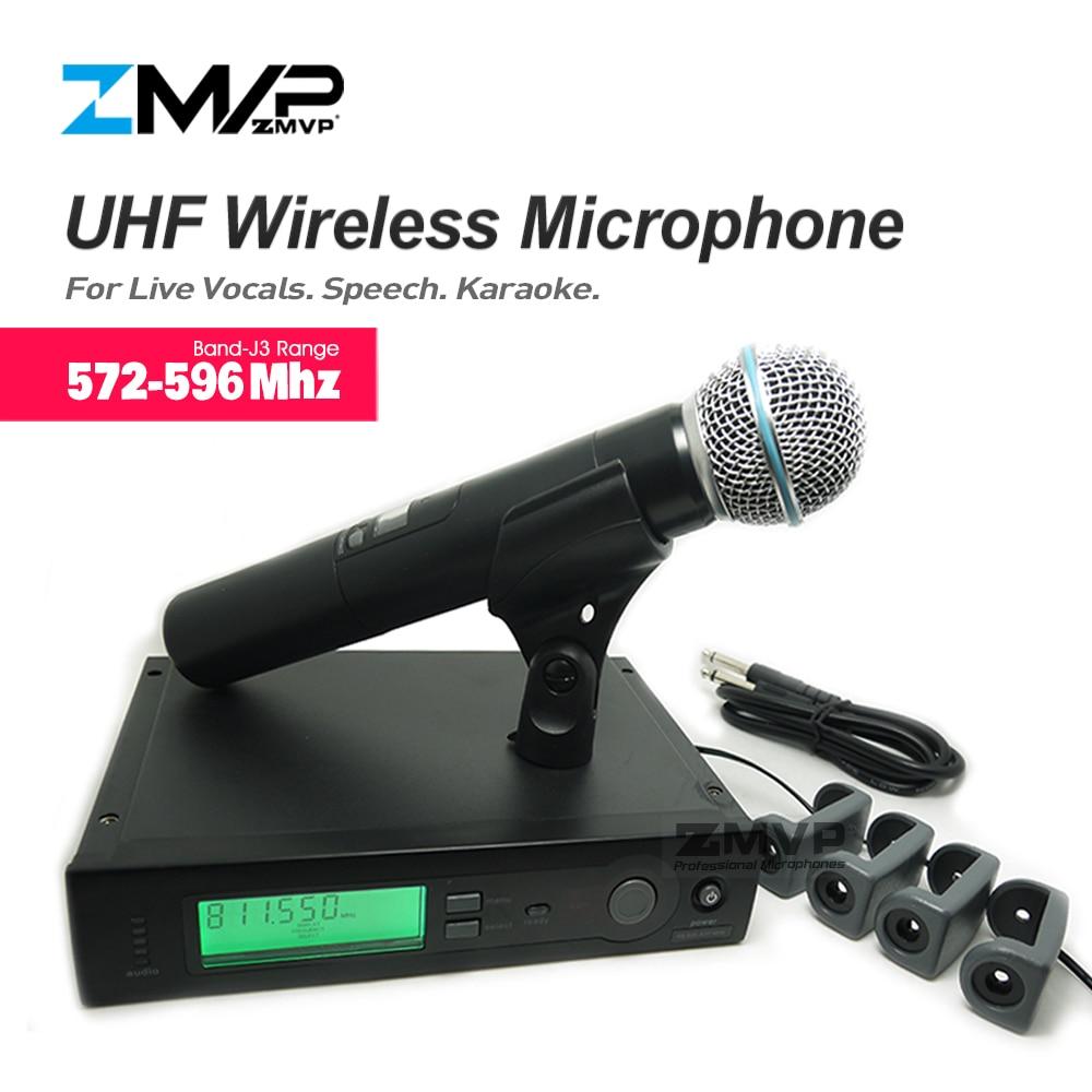 ميكروفون لاسلكي عالي الأداء SLX24 UHF ، مع ميكروفون وجهاز إرسال BETA58A ، للأغناء الحية ، 572-596 ميجا هرتز