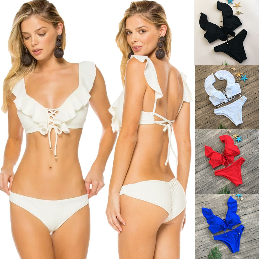 2019 Summer Sexy Women's Padded Push-up Bra Ruffle Solid Bikini Set Swimsuit Swimwear Beachwear Bathing Suit