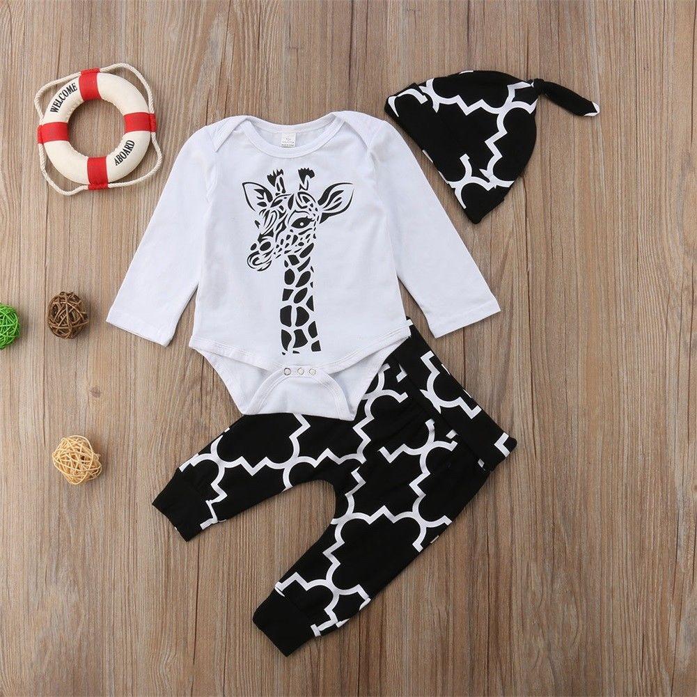 Conjunto Bebê 0-18 Pudcoco M EUA Estoque Bebê Recém-nascido Meninos Menina Girafa Roupas Top Calças Chapéu Romper Outfit conjunto