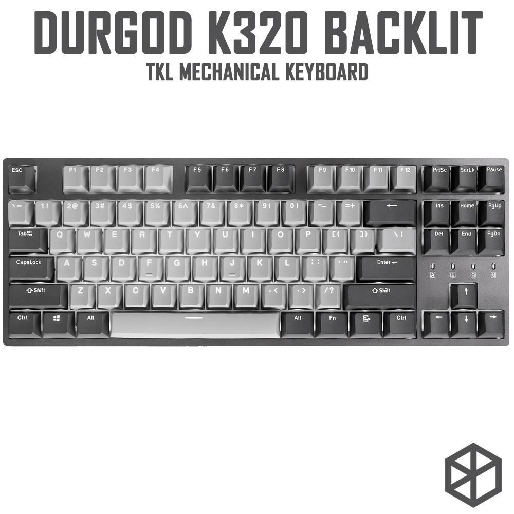 لوحة مفاتيح ميكانيكية بإضاءة خلفية durgod 87 corona k320 ، مفاتيح cherry mx ، أغطية مفاتيح pbt doubleshot ، بني أزرق أسود أحمر فضي