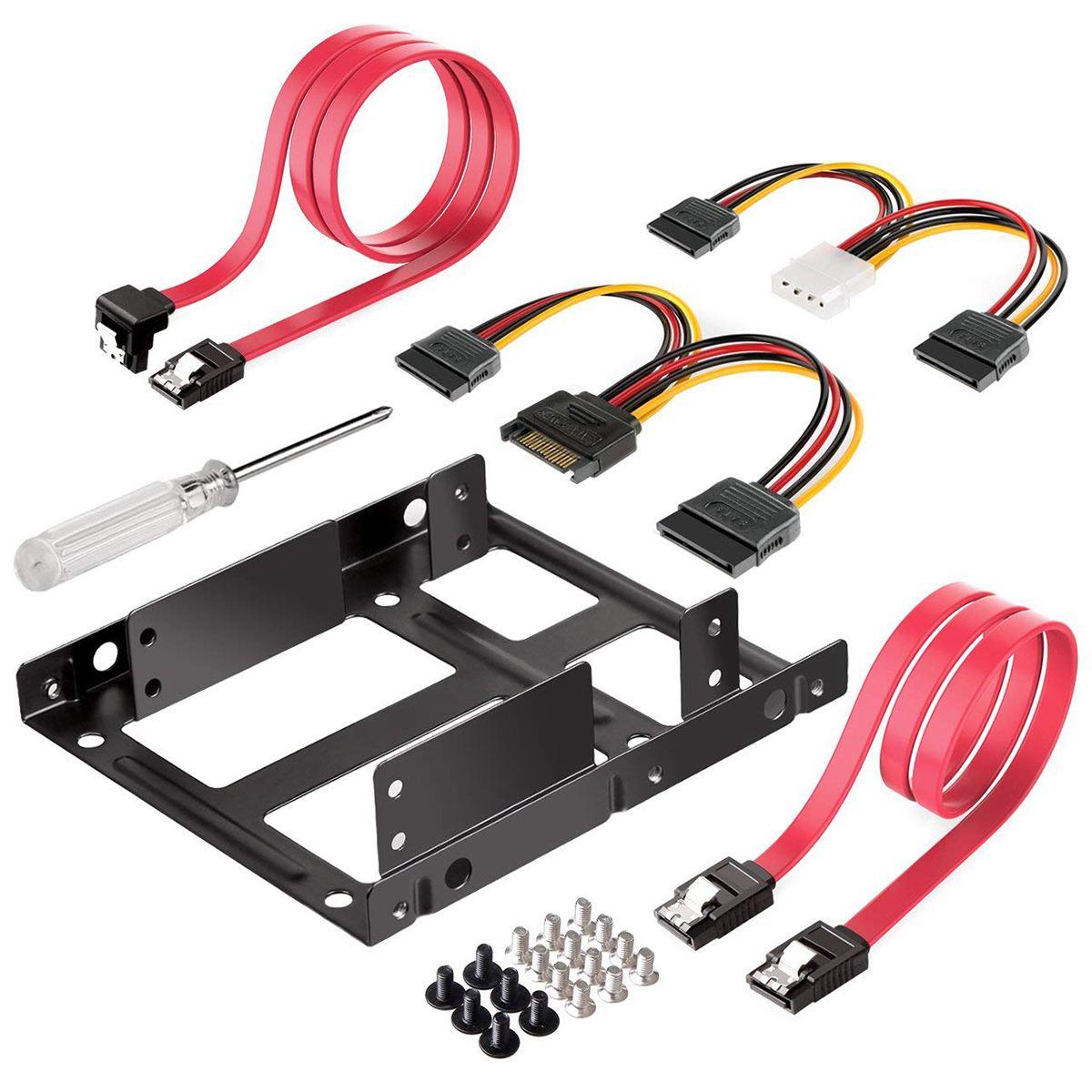 Монтажный комплект для внутреннего жесткого диска, 2x2,5 дюйма SSD на 3,5 дюйма (Кабели SATA для передачи данных и кабели питания в комплекте)