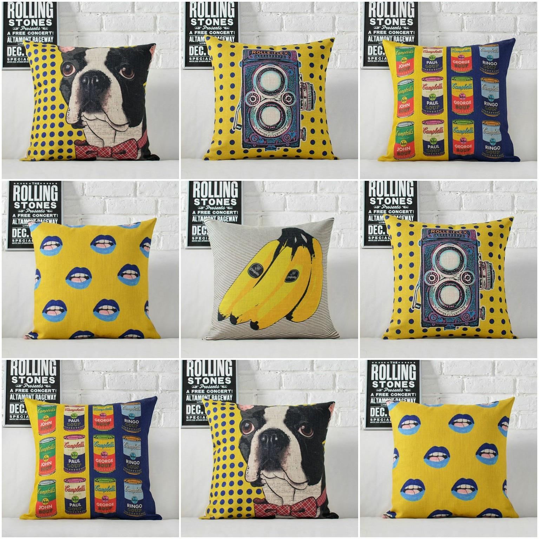 HGLEGYW funda de cojín con patrón de plátano para cámara de perro de arte, funda de algodón de lino, sofá, asiento de coche, decoración para casa familiar de 45x45 CM