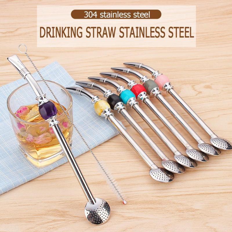 Pajita para beber de acero inoxidable, Pajita, calabaza, Bombilla, cucharas de filtro, reutilizable, Metal Pro Tea, herramientas de Metal, accesorios para Bar