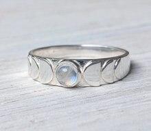 Mode Vintage à la main lune Phase anneau de doigt lune bijoux pour dame taille 7-10 partie pierre de lune anneau