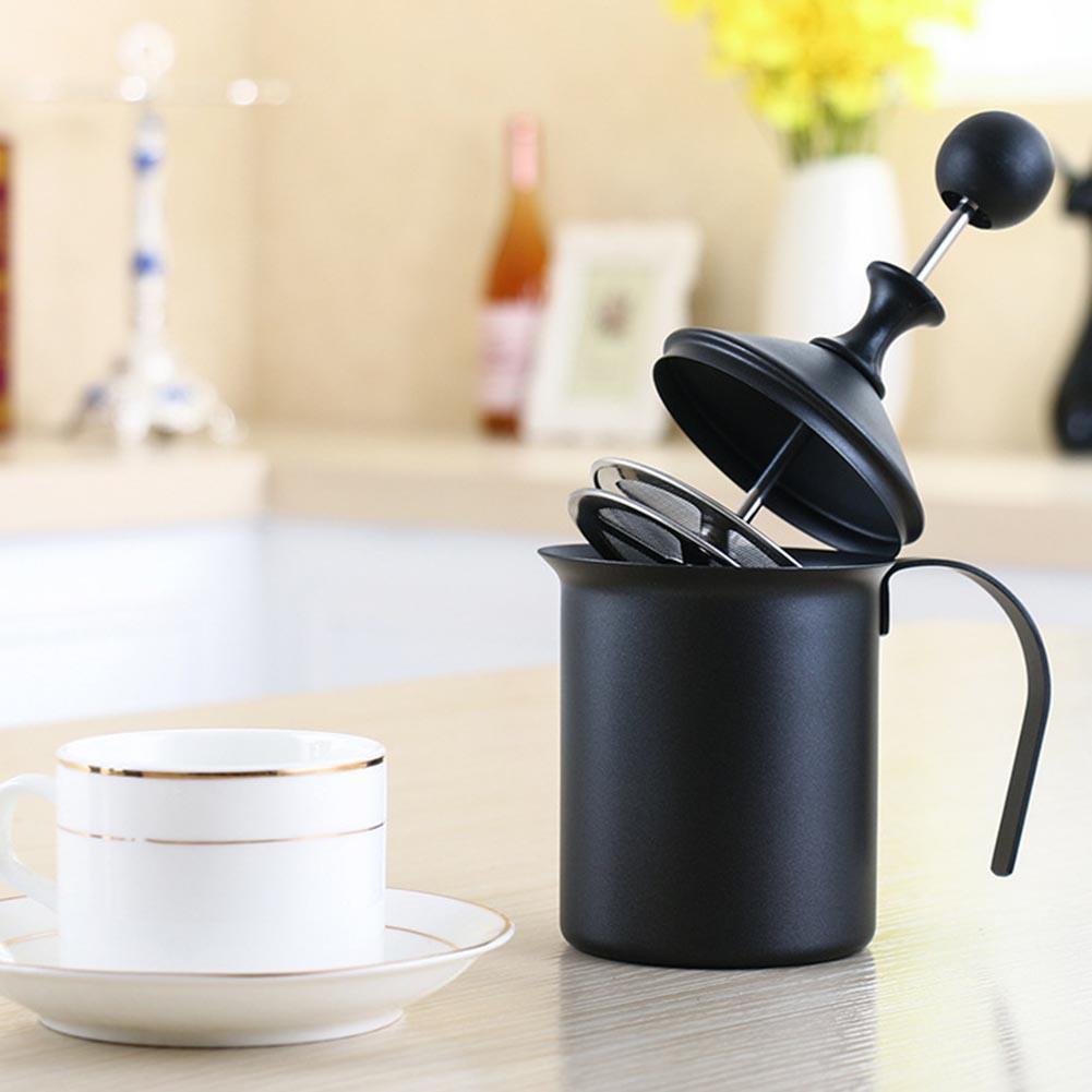 Doble capa de red leche jarro de leche de espuma vaporizador mezclador café crema espuma/400/800 ml Manual vaporizador de leche
