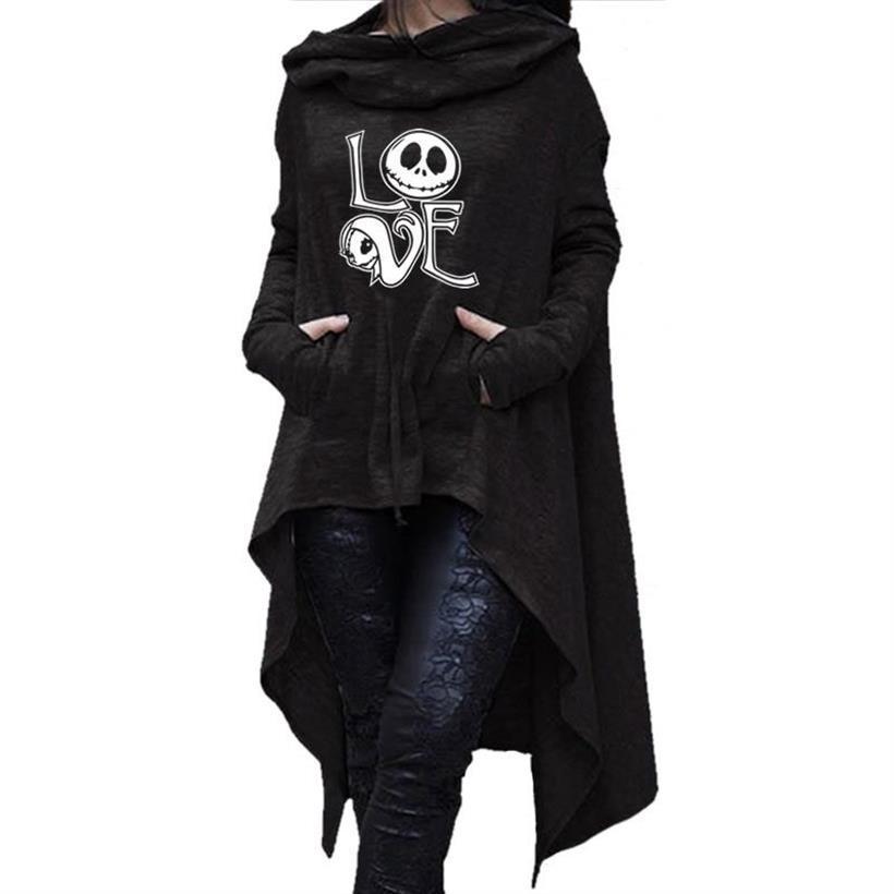 Длинные женские свитшоты с асимметричными буквами Плащ Хэллоуин ведьма Женщины Топы толстые Смешные Женские свободные креативные удобные