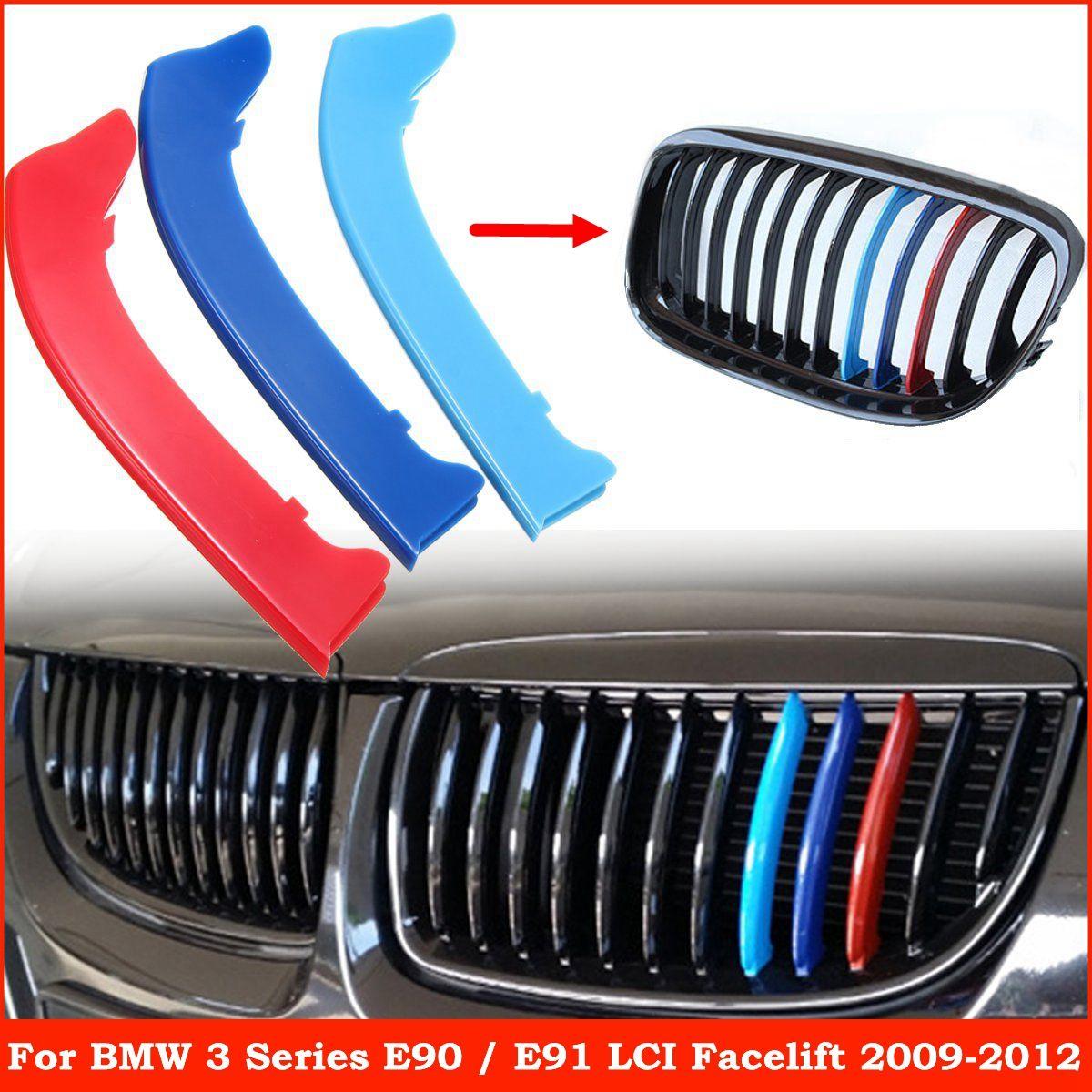 Housse de garniture 3 pièces pour BMW 3-series E90 E91 2009 2010 2011 2012   Bandes de calandre de voiture