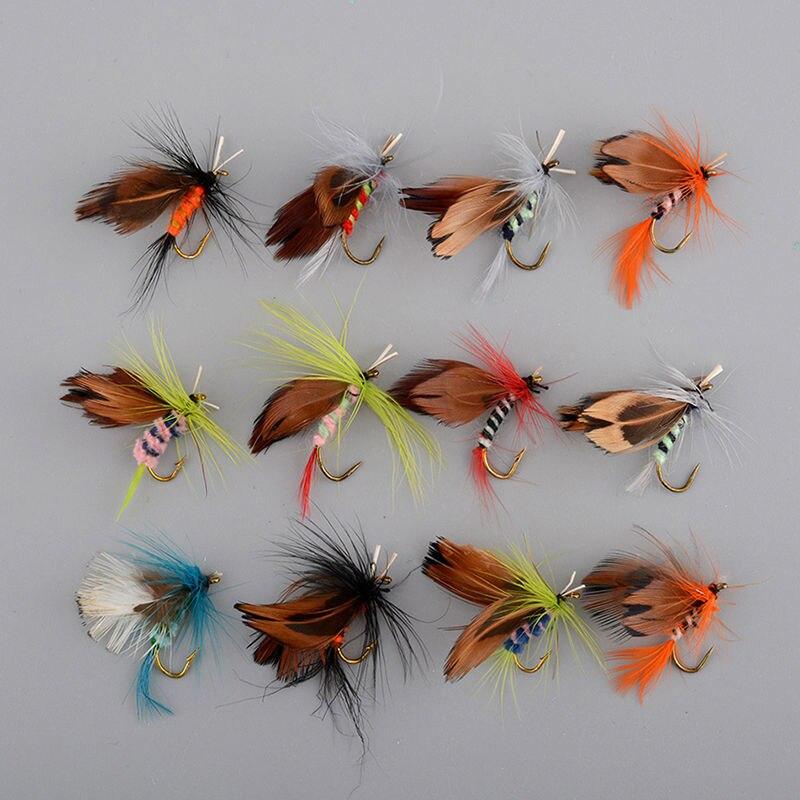 Набор из 12 различных сухих крючков для ловли форели, рыболовные приманки, новые рыболовные аксессуары