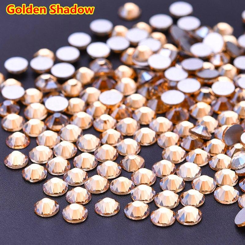 Super brillo SS3-SS30 1440 Uds sombra dorada arte de uñas de cristal plano posterior uñas strass 3D no HotFix decoración de Arte de uñas