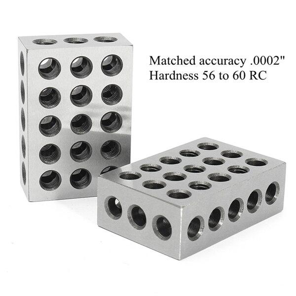 2 uds. Acero templado 1x2x3 pulgadas bloques precisión suelo. Herramientas de fresado endurecido de 0002 pulgadas calibre de bloque de 23 agujeros