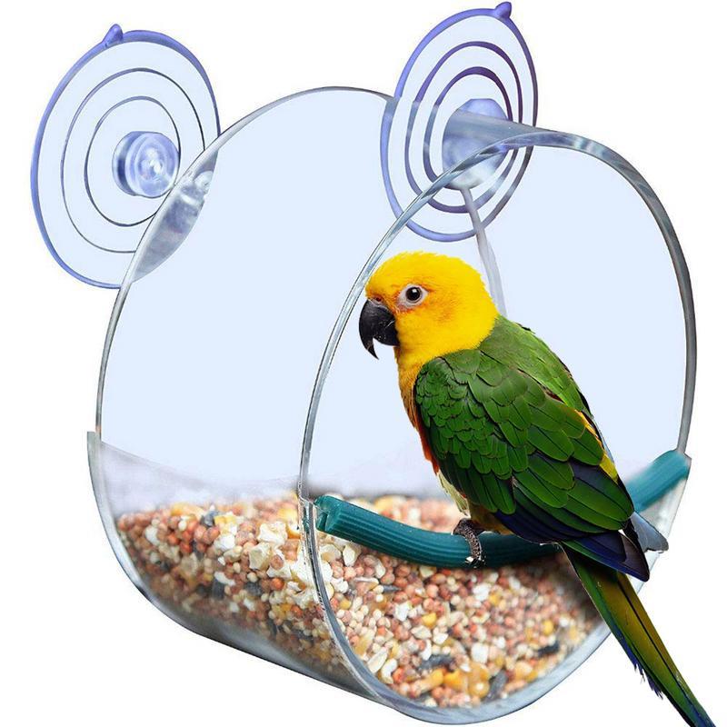 Caja de comida transparente acrílica para comedero de pájaros, caja de comida redonda colgante para pájaros, semillas de loro, alimentador de cacahuetes, herramienta de ventosa para ventana de pájaro