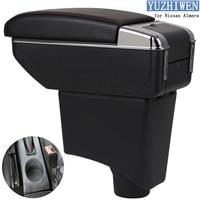 For Nissan Almera Armrest Box Almera 3 Universal Car Central Armrest Storage Box cup holder ashtray modification accessories