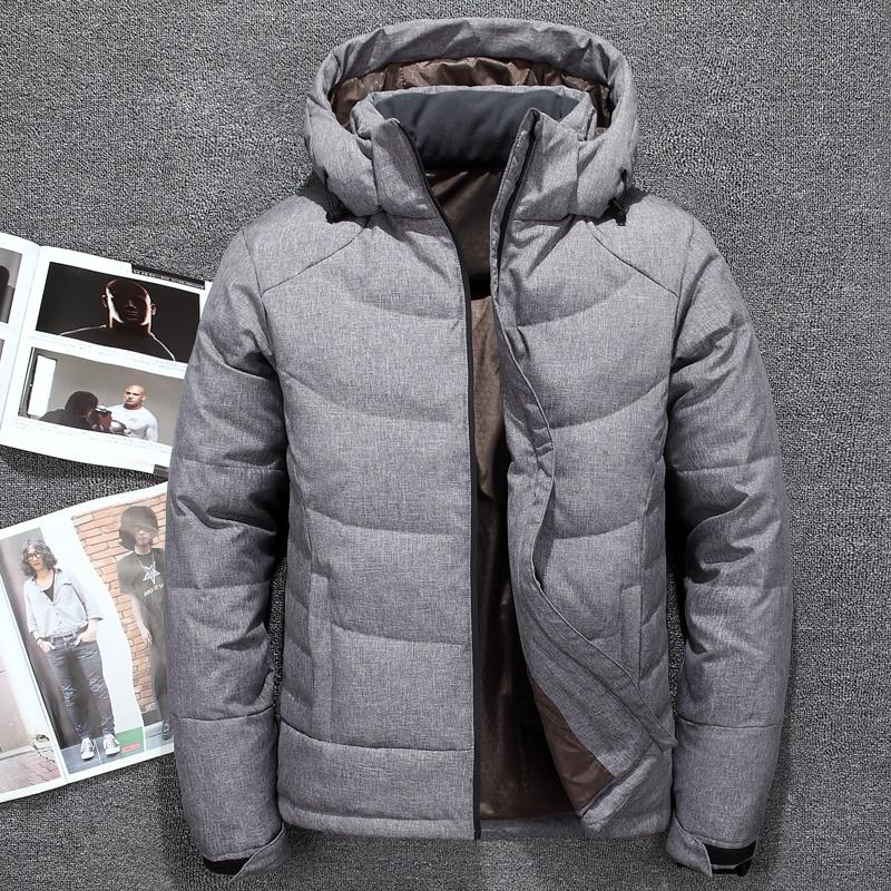 Модные мужские пуховики с капюшоном, осенне-зимние мужские однотонные толстые теплые пальто на белом утином пуху, Мужская ветрозащитная ве...