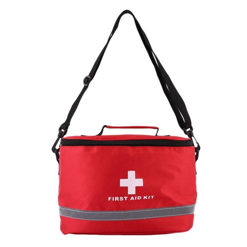 Kit de primeros auxilios al aire libre bolsa de Camping para el hogar bolsa de supervivencia de emergencia médica Paquete de Nylon rojo llamativo Cruz símbolo bandolera