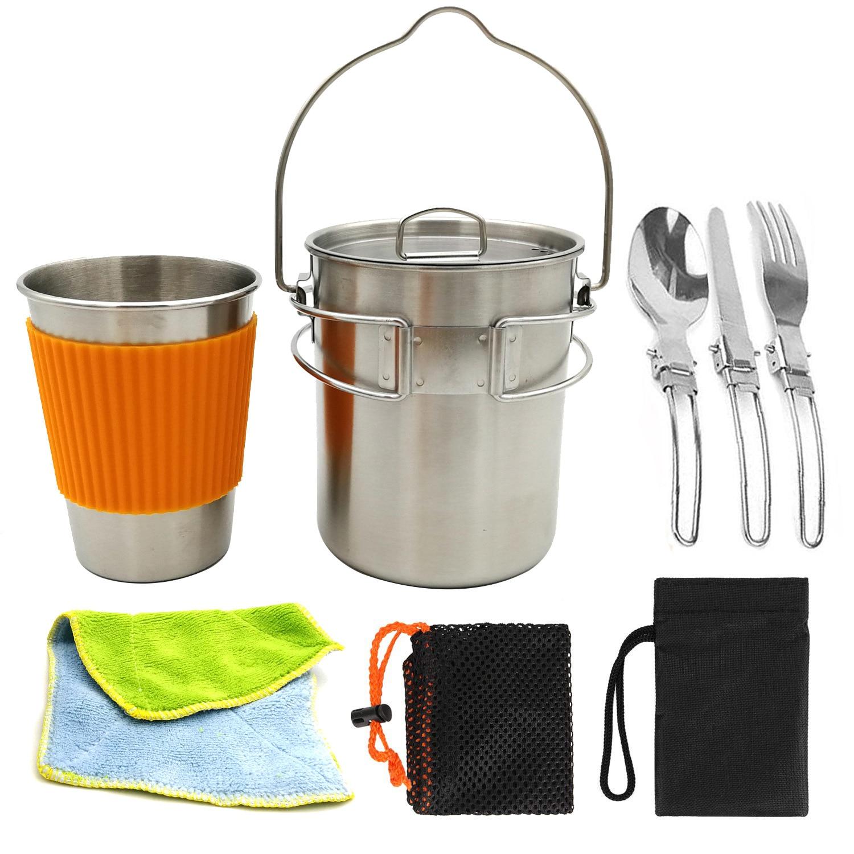 Juego de utensilios de cocina para acampar al aire libre de acero inoxidable 304