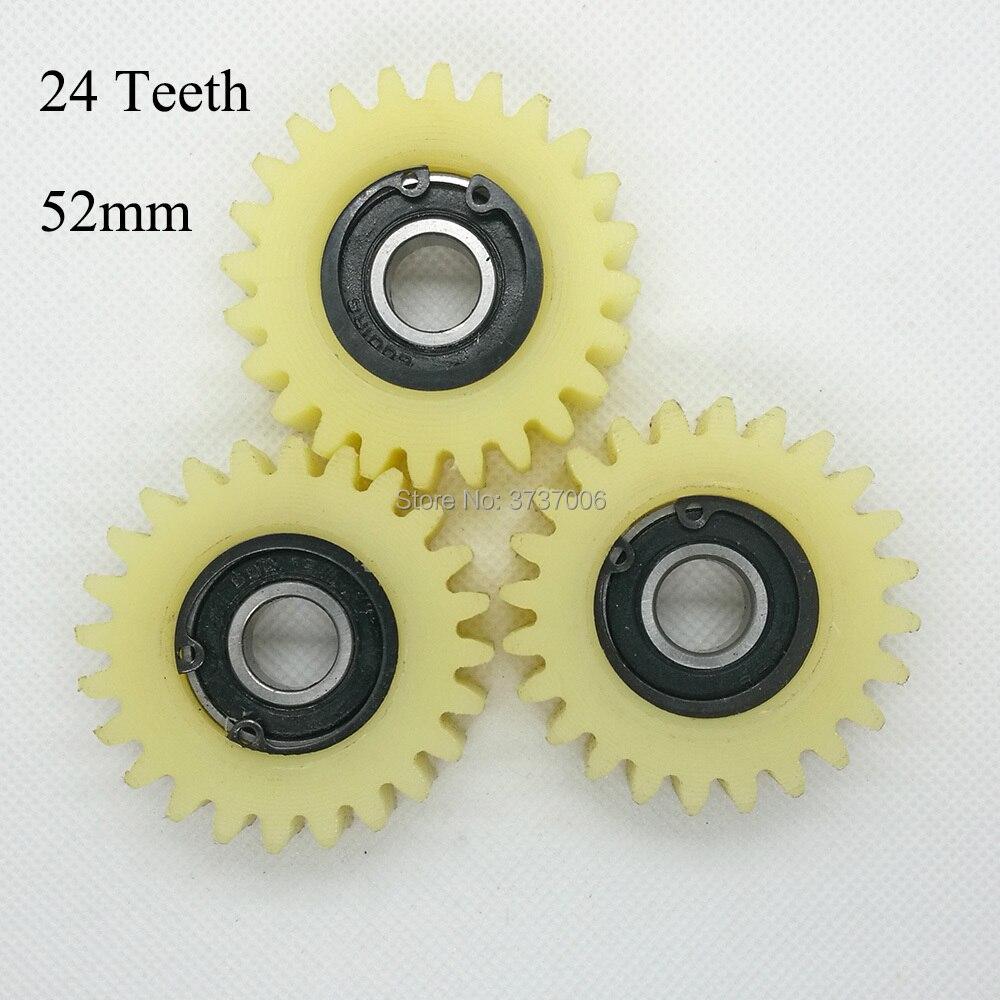 3 uds. 24 dientes 52mm PA66 nylon plástico engranajes 12mm agujero 21mm espesor para bicicleta eléctrica motor bicicleta embrague engranajes caja
