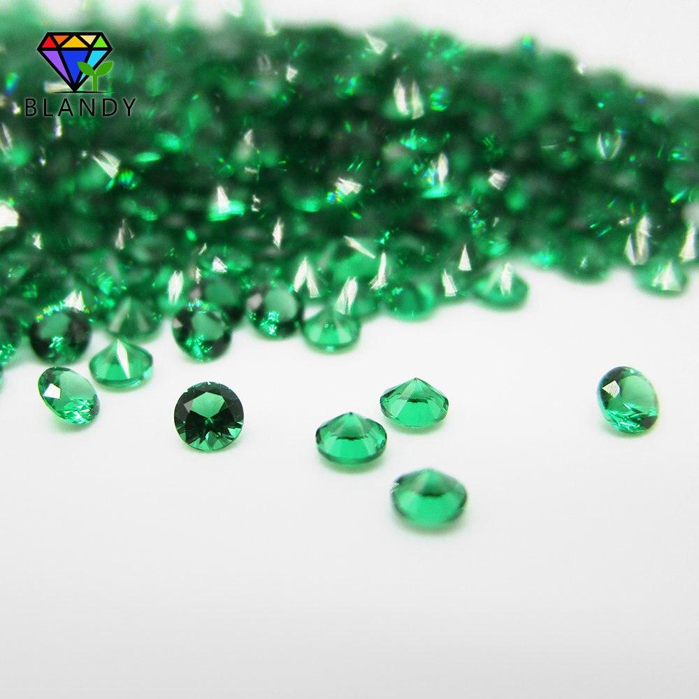 1.0~3.0mm Round Machine Cut Nano Green Stone 5A Synthetic Rubi Red Corundum Wax Setting #113 Blue Stone For DIY Jewelry