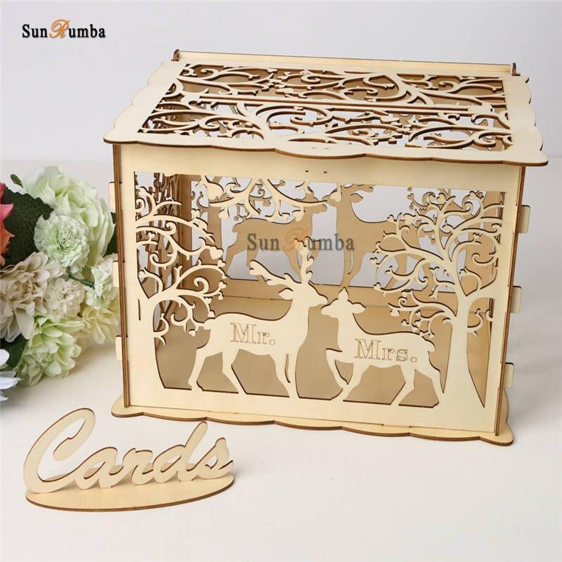 Caja de recuerdo de boda DIY madera decoración de fiesta regalo de boda tarjetero caja de dinero de madera con cerradura tallada decoración de boda