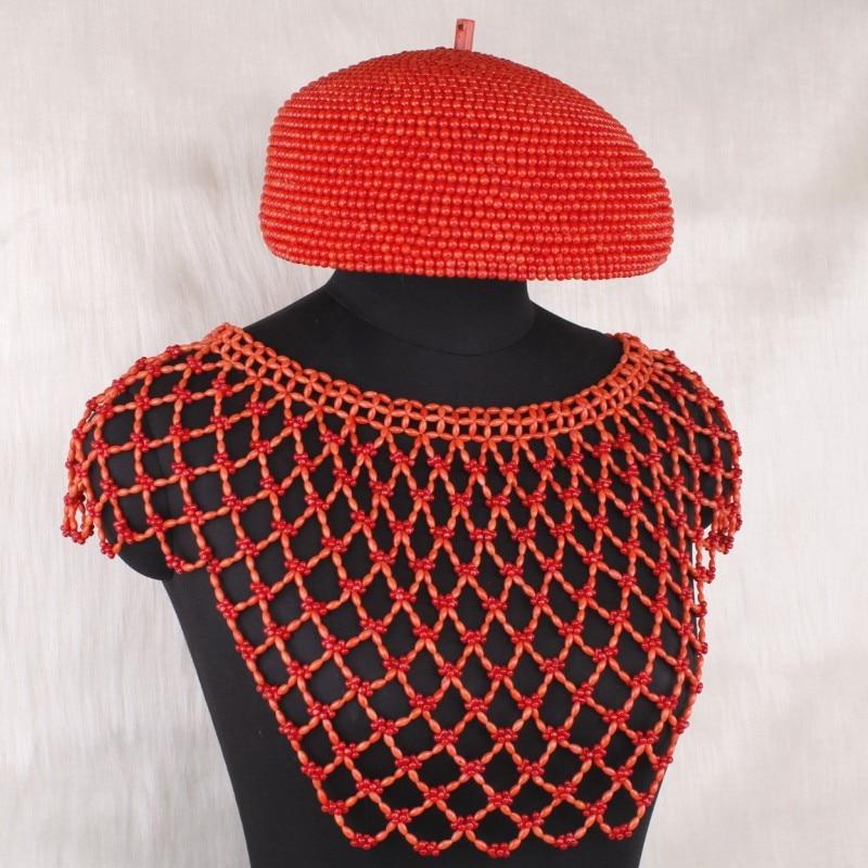 Dudo jóias 100% genuíno coral contas conjunto de jóias para edo nupcial casamento cachecol chapéu luvas artesanal jóias nigeriano contas 2019