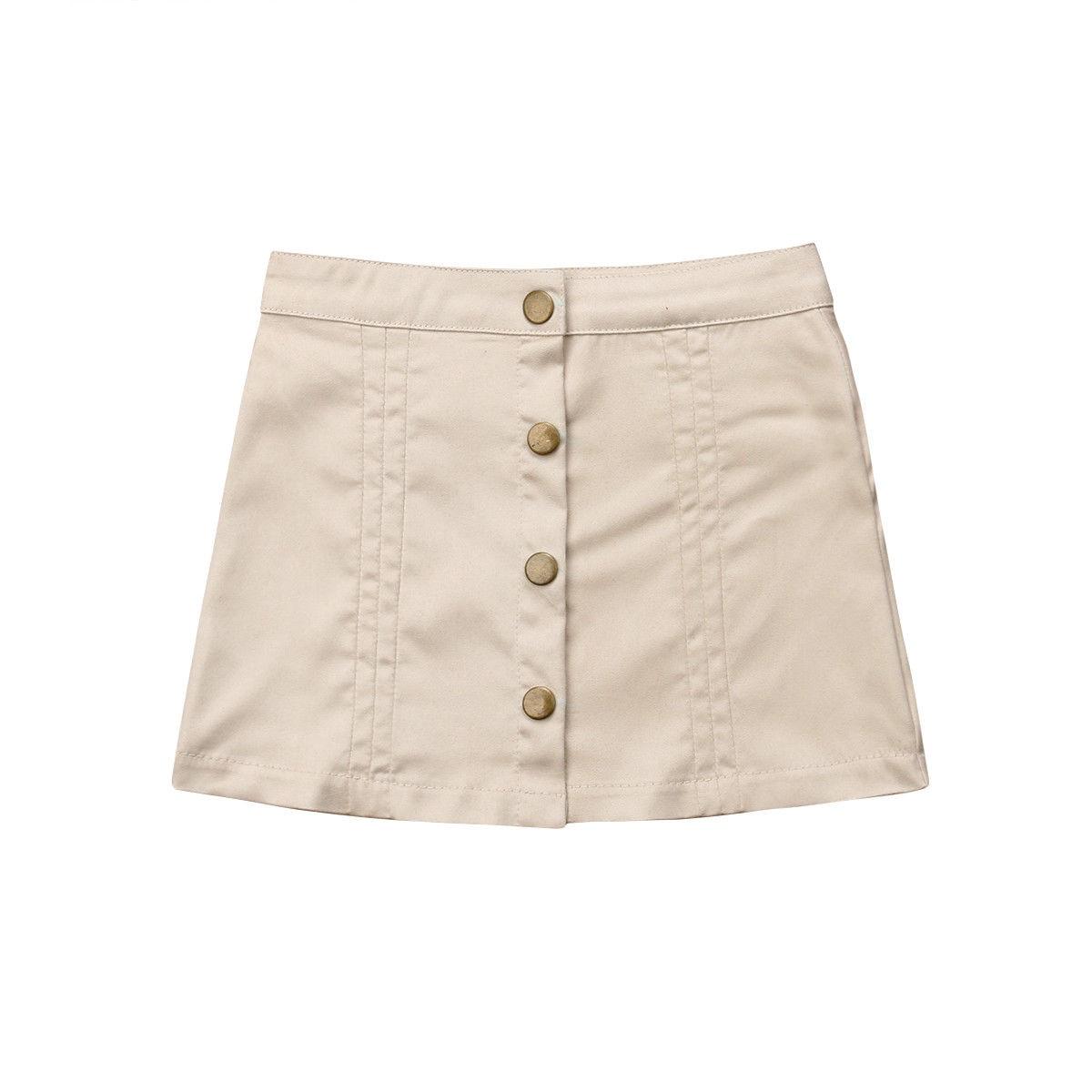 Pudcoco/Детские юбки трапециевидной формы с пуговицами для маленьких девочек Пышные